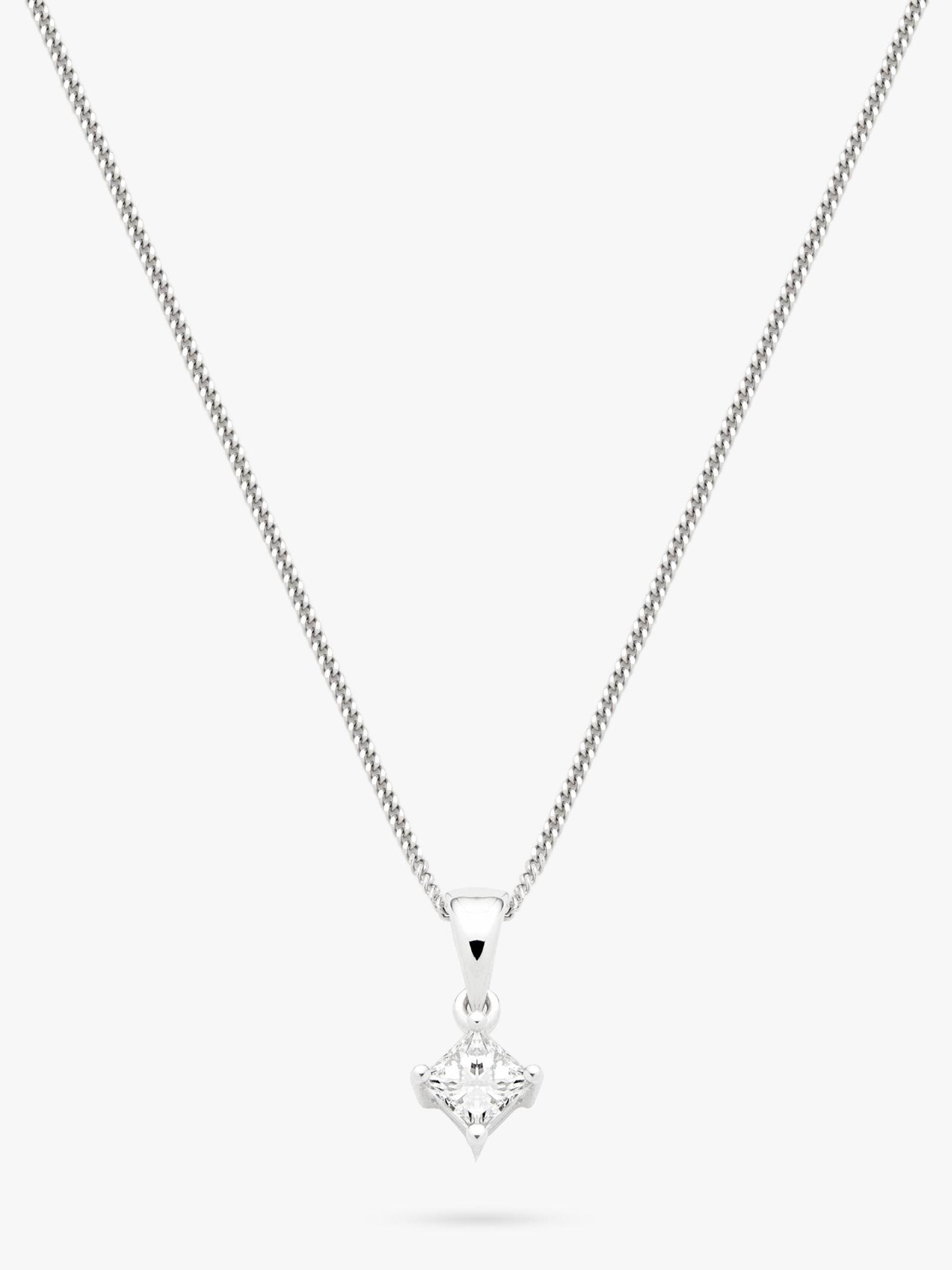 5d58eddfd Mogul 18ct White Gold Princess Cut Solitaire Diamond Pendant Necklace,  0.33ct at John Lewis & Partners