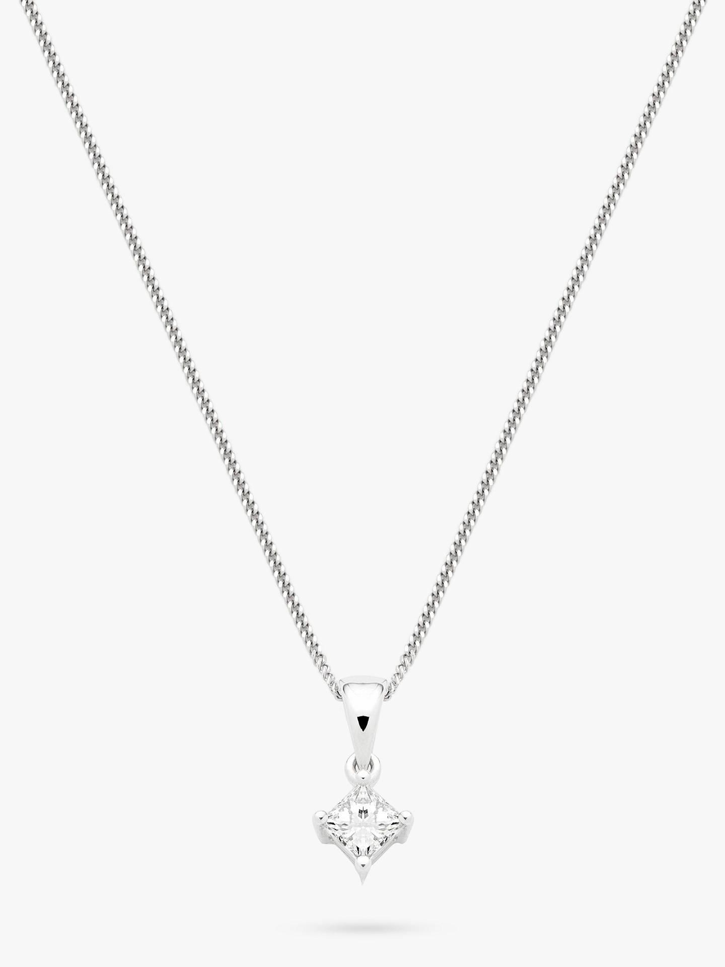 d63d2be93 Buy Mogul 18ct White Gold Princess Cut Solitaire Diamond Pendant Necklace,  0.33ct Online at ...