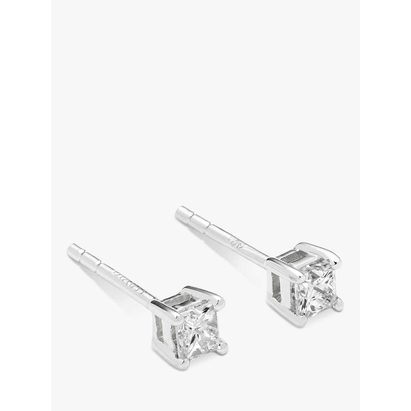 Mogul 18ct White Gold Princess Cut Solitaire Diamond Stud Earrings 0 33ct Online At Johnlewis