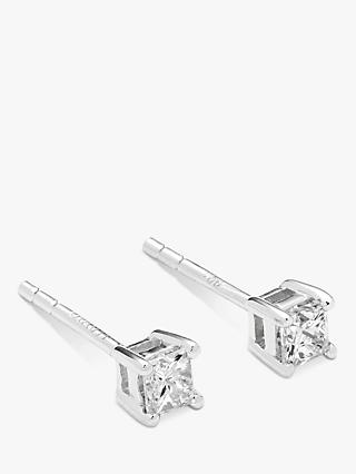 Mogul 18ct White Gold Princess Cut Solitaire Diamond Stud Earrings, 0.33ct