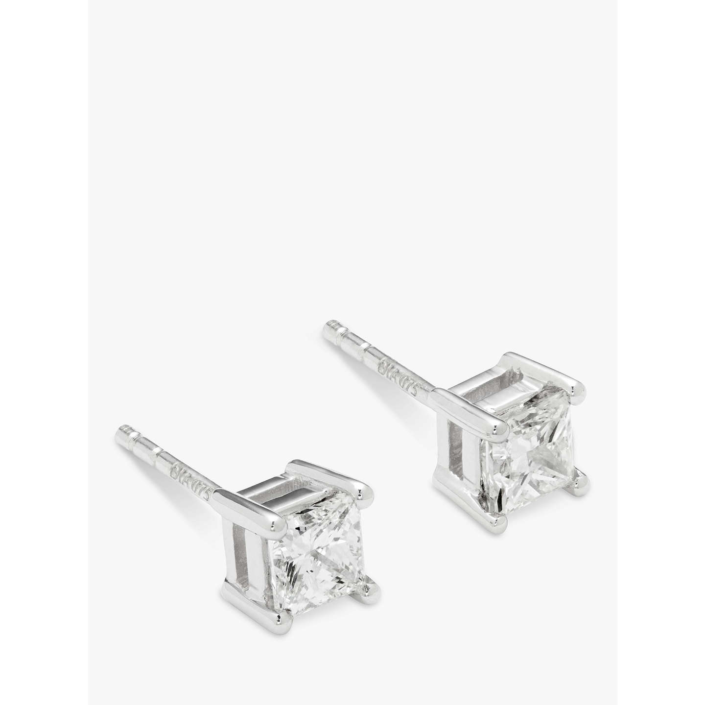 earrings square ideal diamond lugaro stud