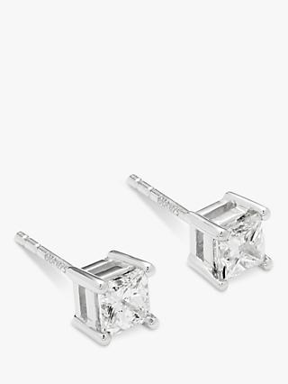 Mogul 18ct White Gold Princess Cut Solitaire Diamond Stud Earrings, 0.75ct