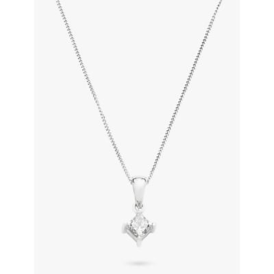 Mogul 18ct White Gold Princess Cut Solitaire Diamond Pendant Necklace, 0.5ct