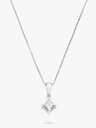 Mogul 18ct White Gold Princess Cut Solitaire Diamond Pendant Necklace, 0.5ct