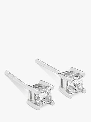 Mogul 18ct White Gold Princess Cut Solitaire Diamond Stud Earrings, 0.5ct
