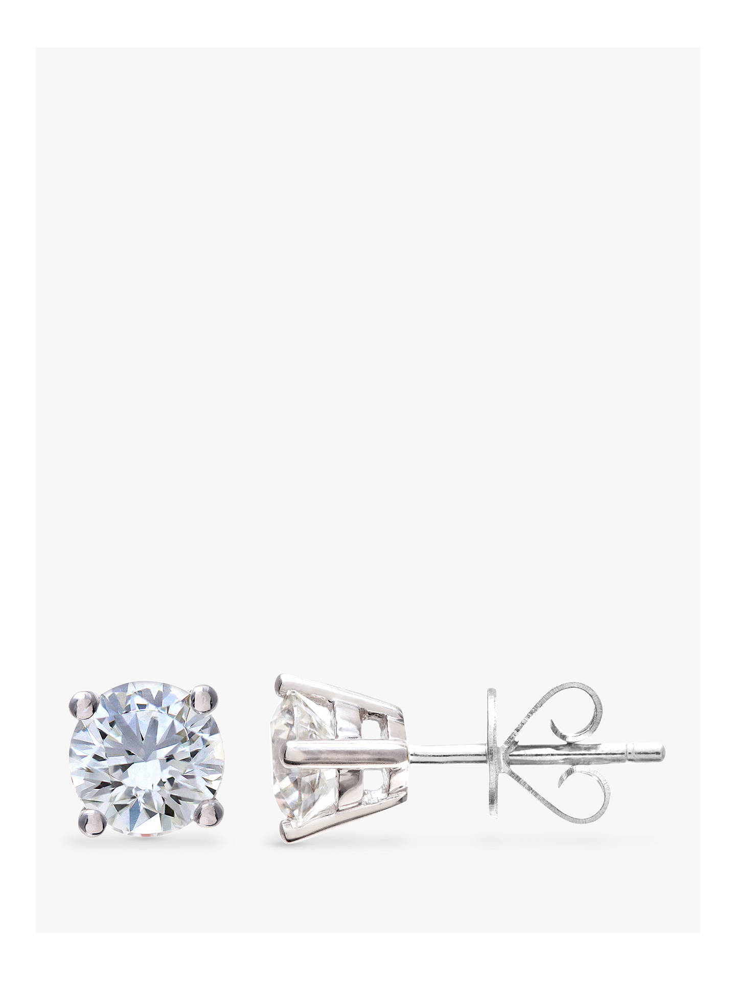 e53fde386 Buy Mogul 18ct White Gold Round Brilliant Solitaire Diamond Stud Earrings,  1ct Online at johnlewis ...