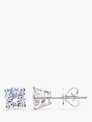 Mogul 18ct White Gold Round Brilliant Solitaire Diamond Stud Earrings, 1ct