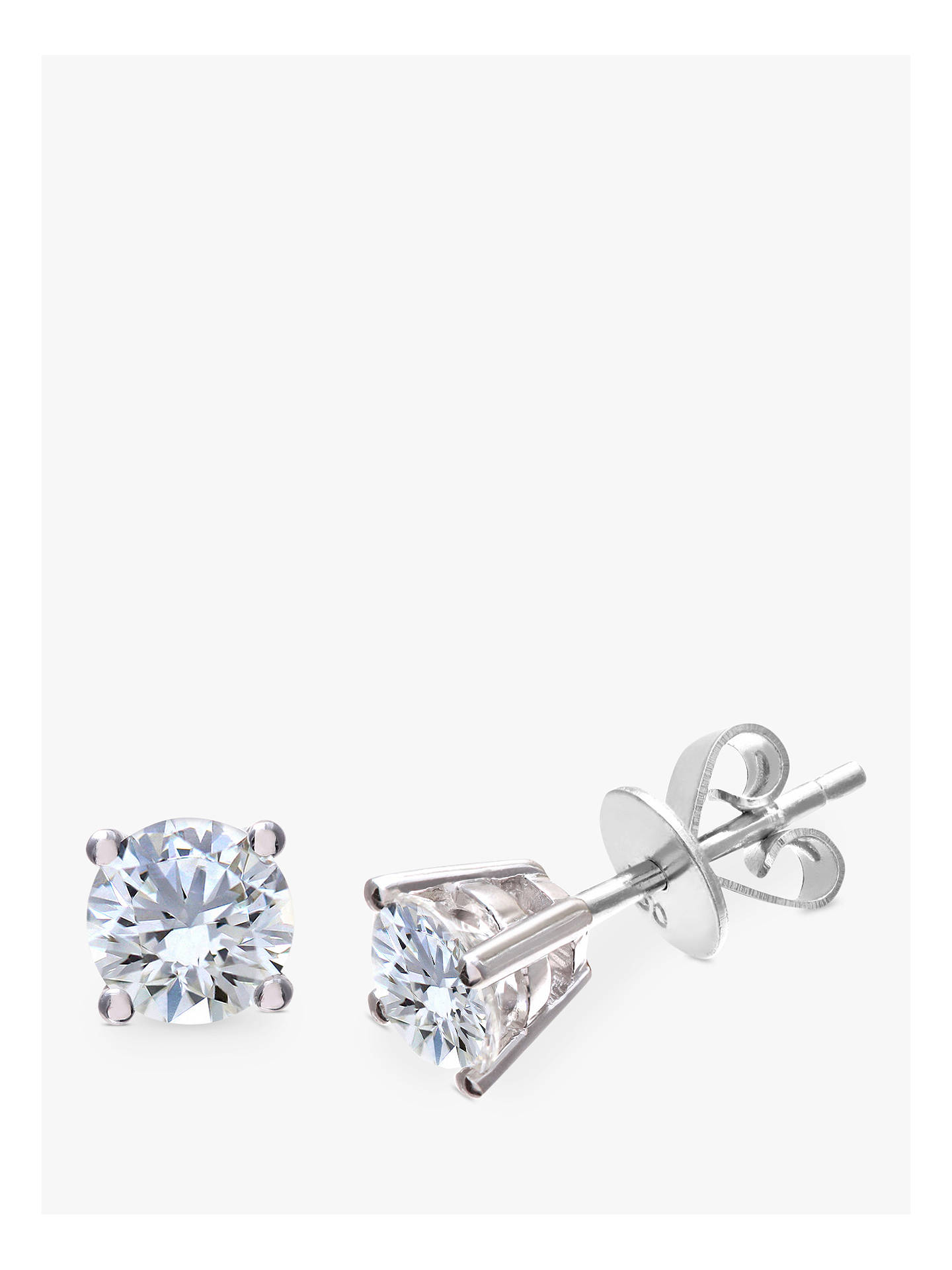 Mogul 18ct White Gold Round Brilliant Solitaire Diamond Stud Earrings 1ct Online At Johnlewis