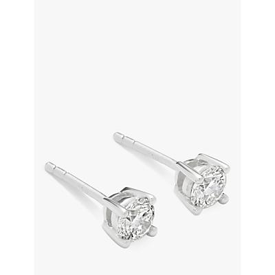 Mogul 18ct White Gold Round Brilliant Solitaire Diamond Stud Earrings, 0.5ct