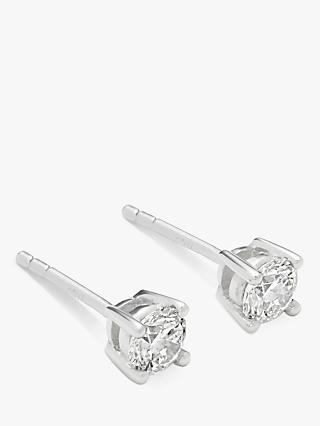 Mogul 18ct White Gold Round Brilliant Solitaire Diamond Stud Earrings, 0.5ct