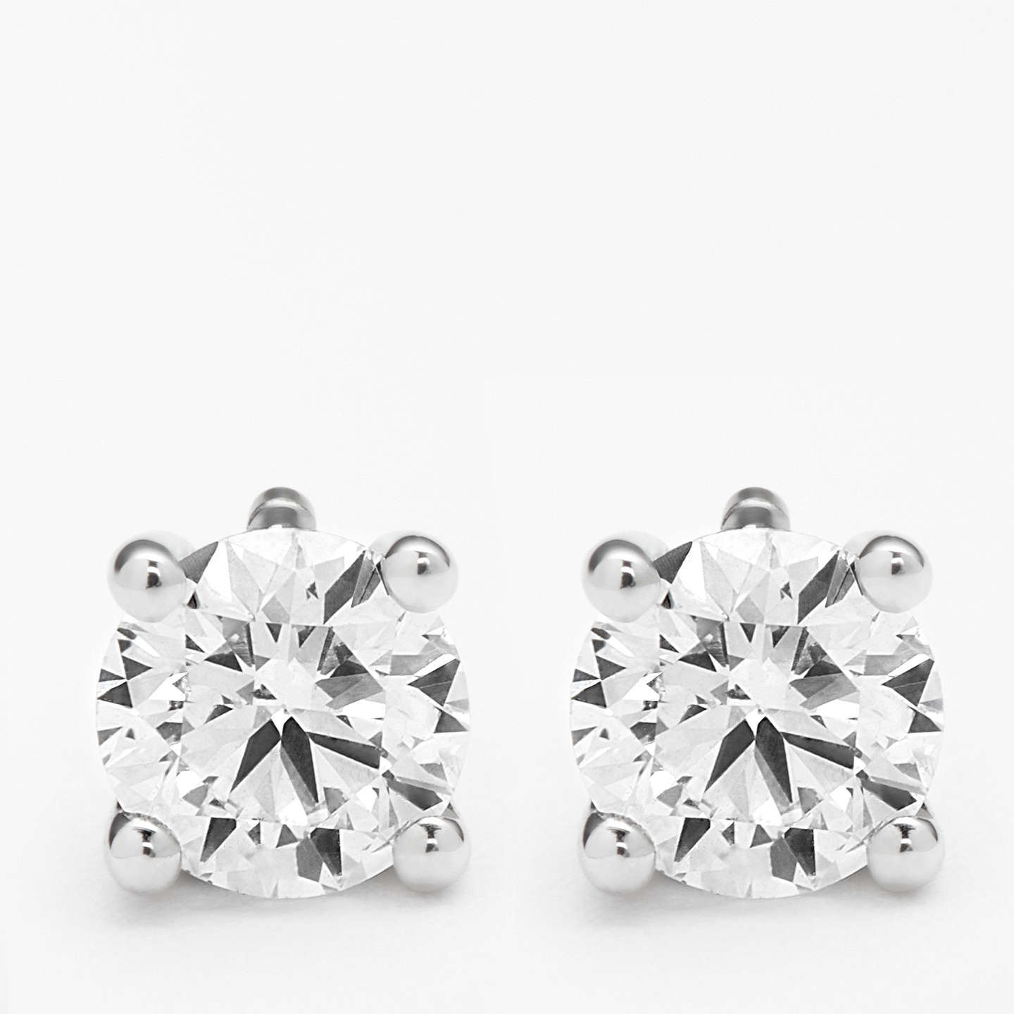 BuyDiamond Collection 18ct White Gold Round Brilliant Solitaire Diamond Stud Earrings, 0.5ct Online at johnlewis.com