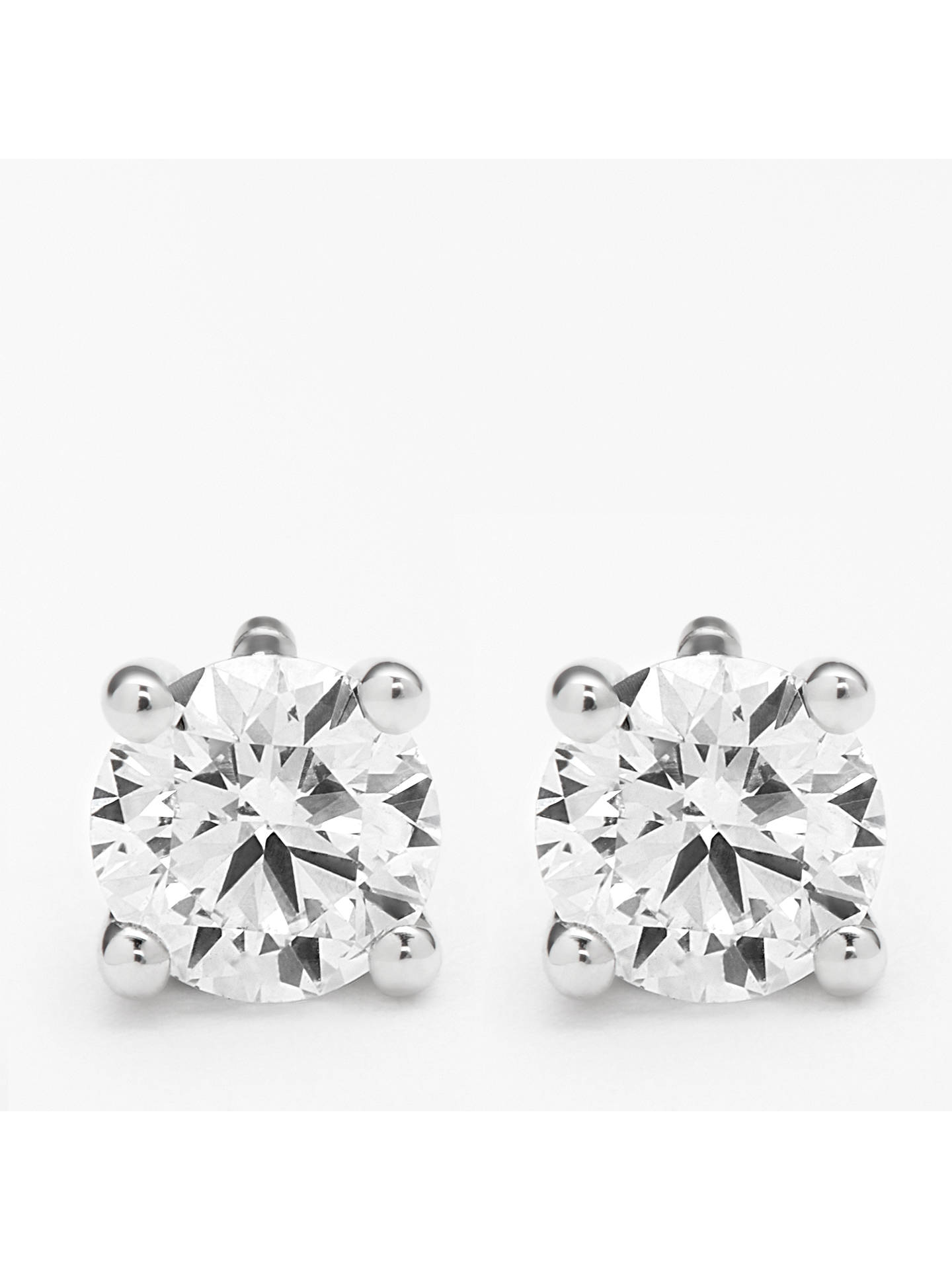BuyMogul 18ct White Gold Round Brilliant Solitaire Diamond Stud Earrings, 0.5ct Online at johnlewis.com