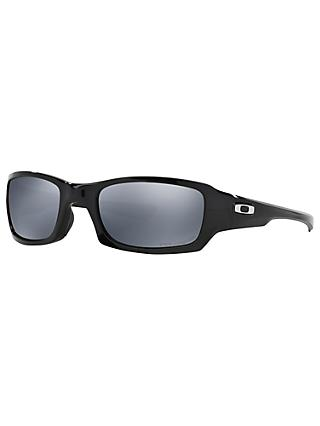 Oakley OO9238 Fives Squared™ Polarised Rectangular Sunglasses, Polished Black/Black Iridium