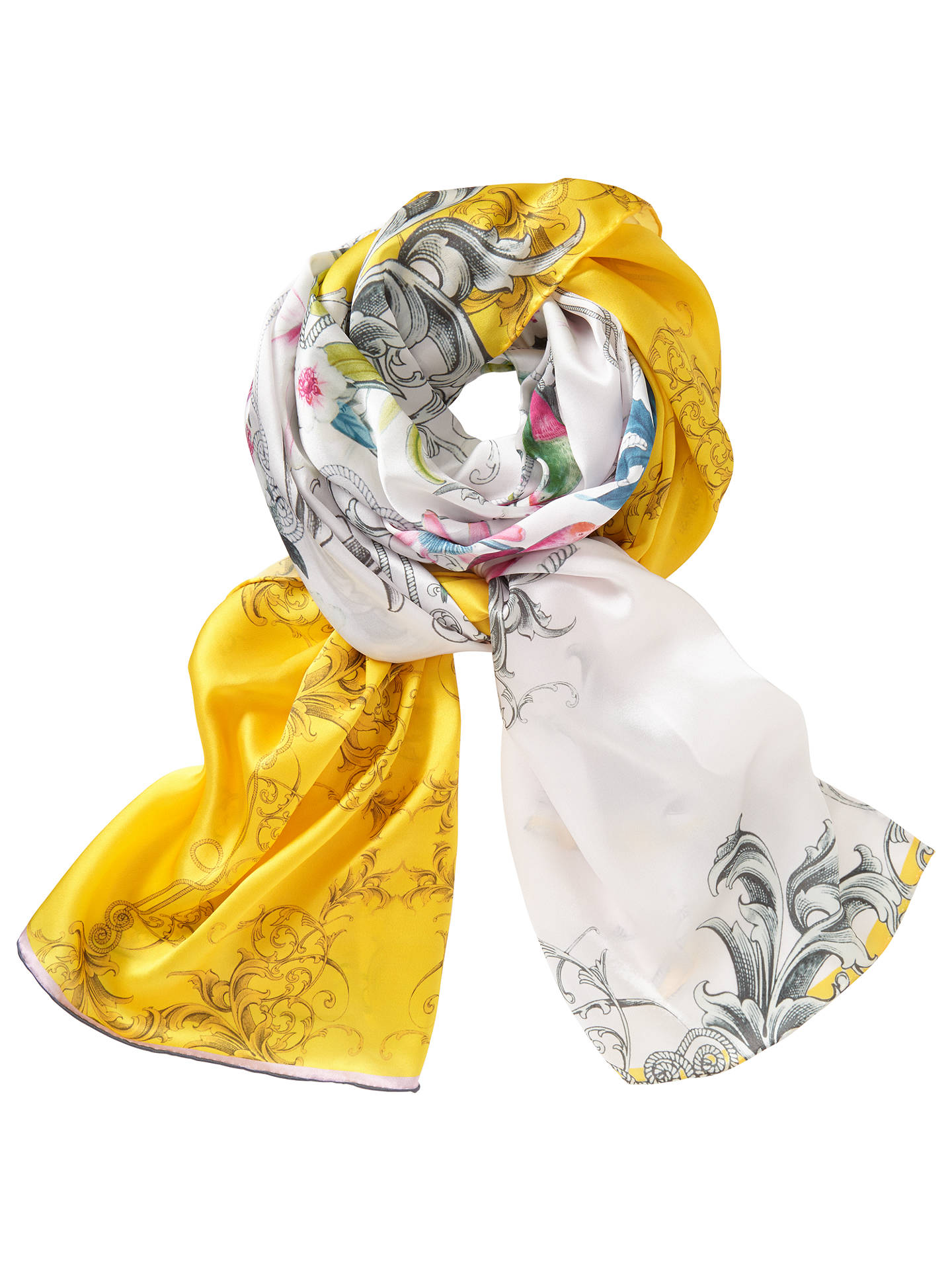 04f17d7c68e26 Buy Ted Baker Passion Flower Long Silk Scarf, Yellow/Multi Online at  johnlewis.