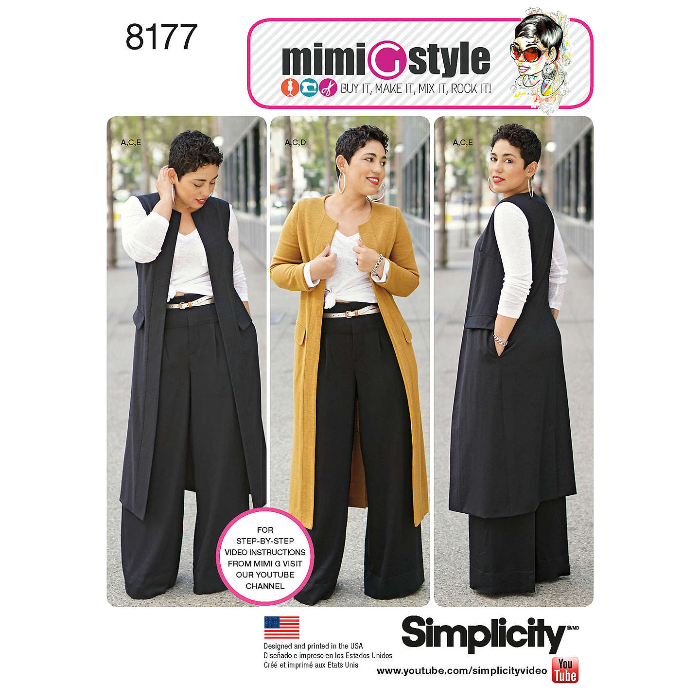 BuySimplicity Mimi G Style Women's Trousers and Coat Sewing Pattern, 8177, BB Online at johnlewis.com