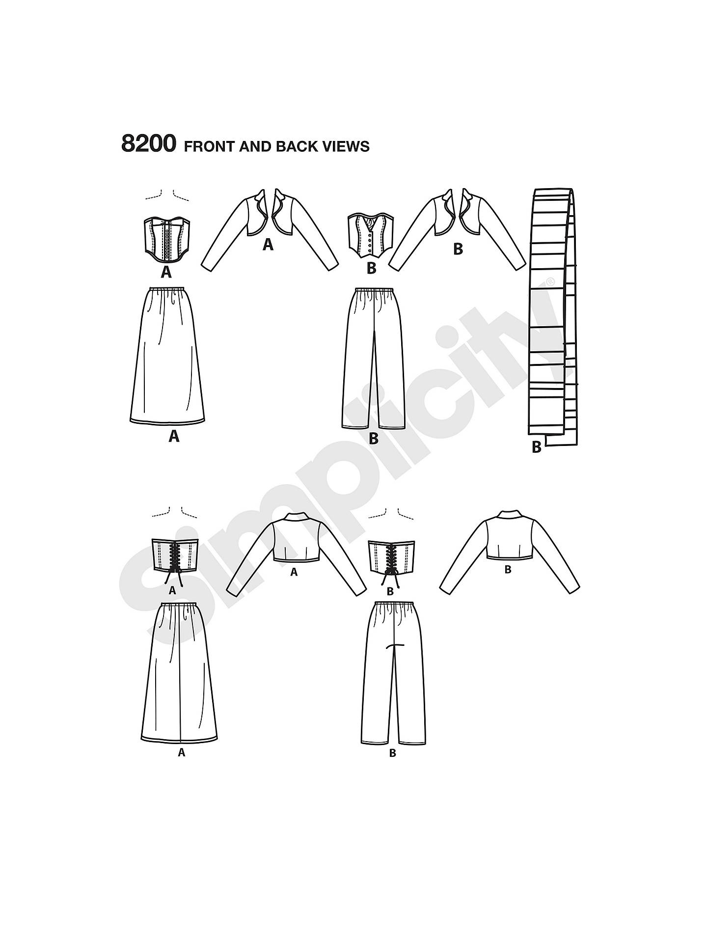 Simplicity Women's Costume Sewing Pattern, 8200