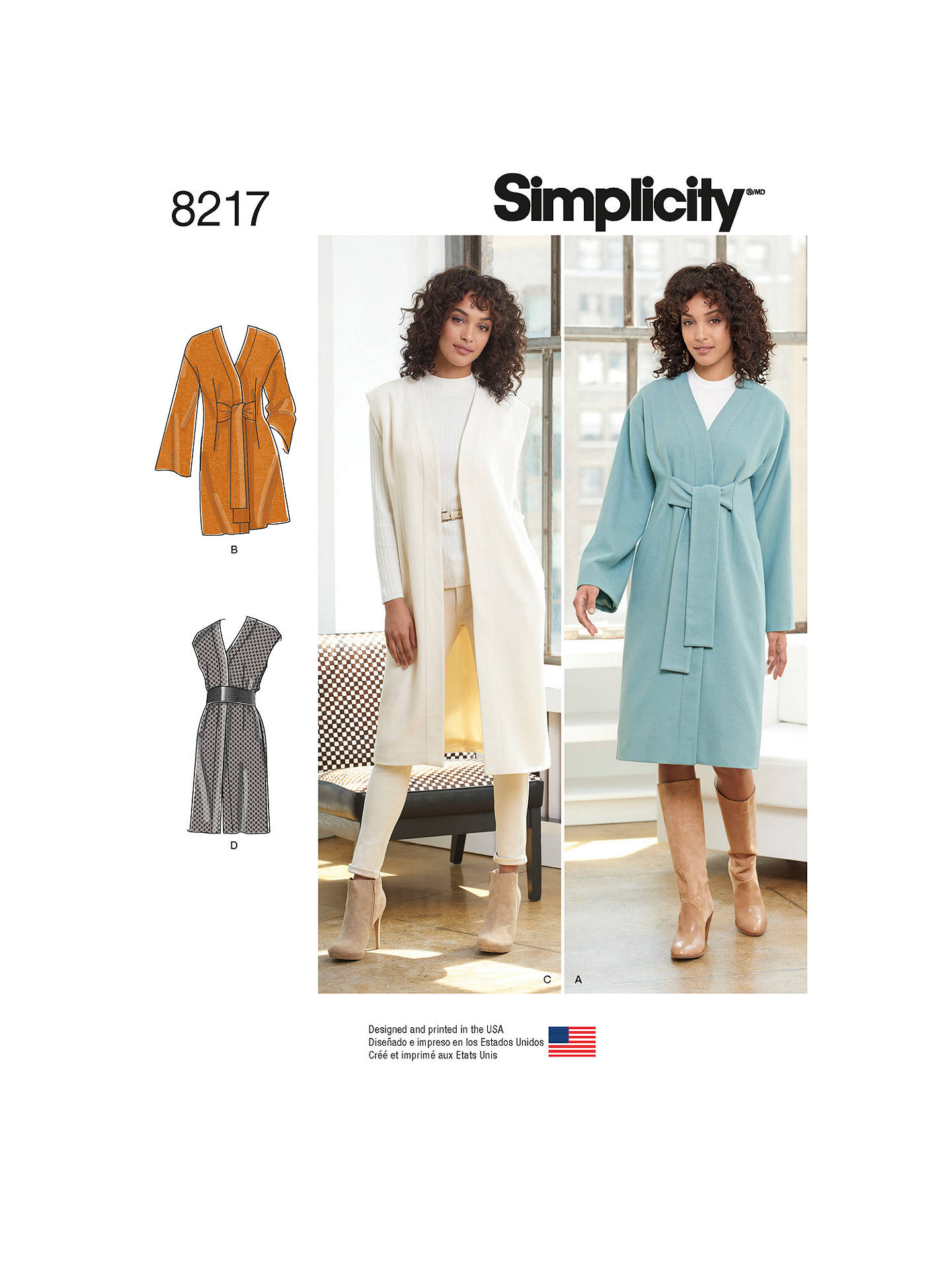 Simplicity Women S Coat Sewing Pattern 8217 U5 Online At Johnlewis