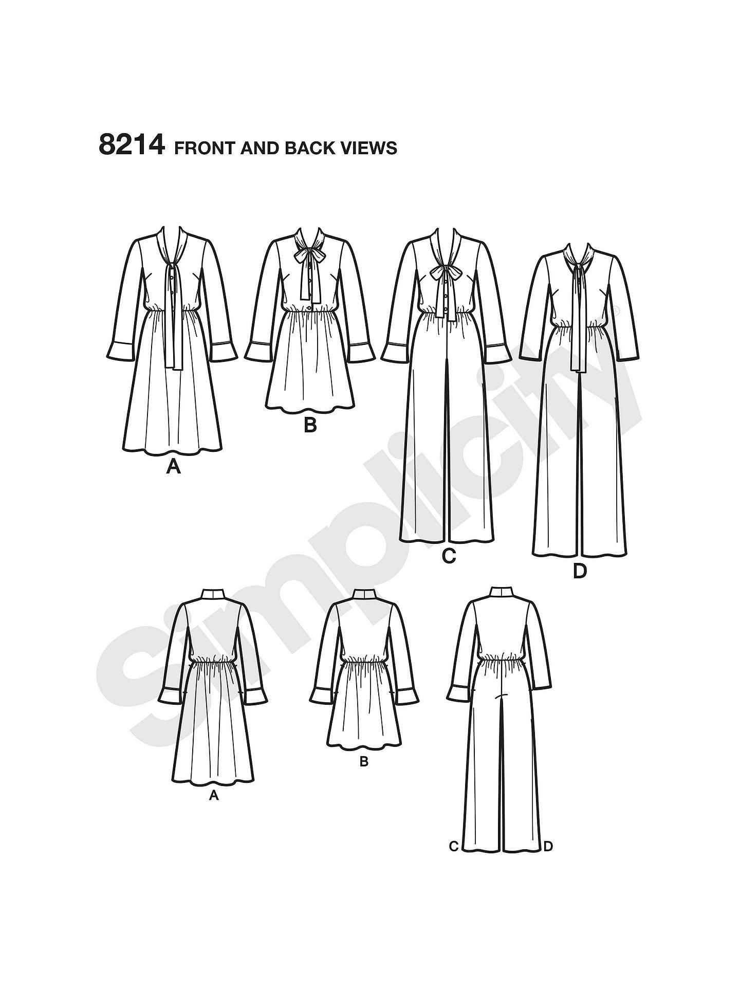Simplicity Women\'s Dresses Sewing Pattern, 8214 at John Lewis & Partners