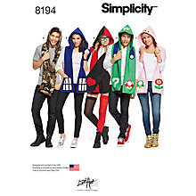 Buy Simplicity Hooded Character Scarf Sewing Pattern, 8194 Online at johnlewis.com