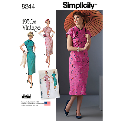 1950s Sewing Patterns- Dresses, Skirts, Tops, Pants Simplicity Vintage Misses Womens Dresses Sewing Pattern 8244 £8.95 AT vintagedancer.com