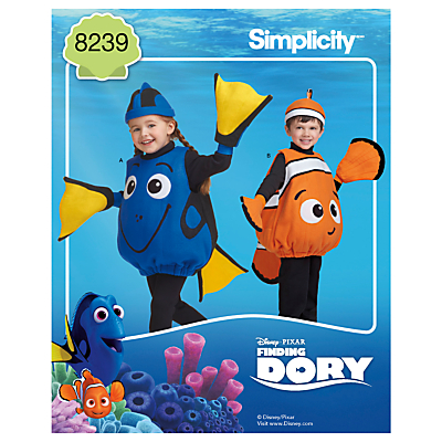 Image of Simplicity Disney Pixar Children's Finding Dory Costume Sewing Pattern, 8239