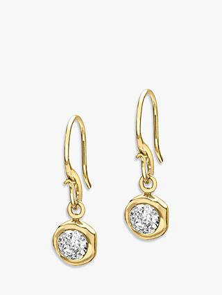 Dower & Hall 18ct Gold Vermeil Round Topaz Dew Drop Earrings, Gold