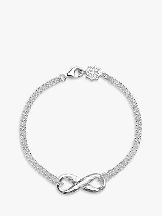 Dower & Hall Sterling Silver Entwined Infinity Bracelet, Silver