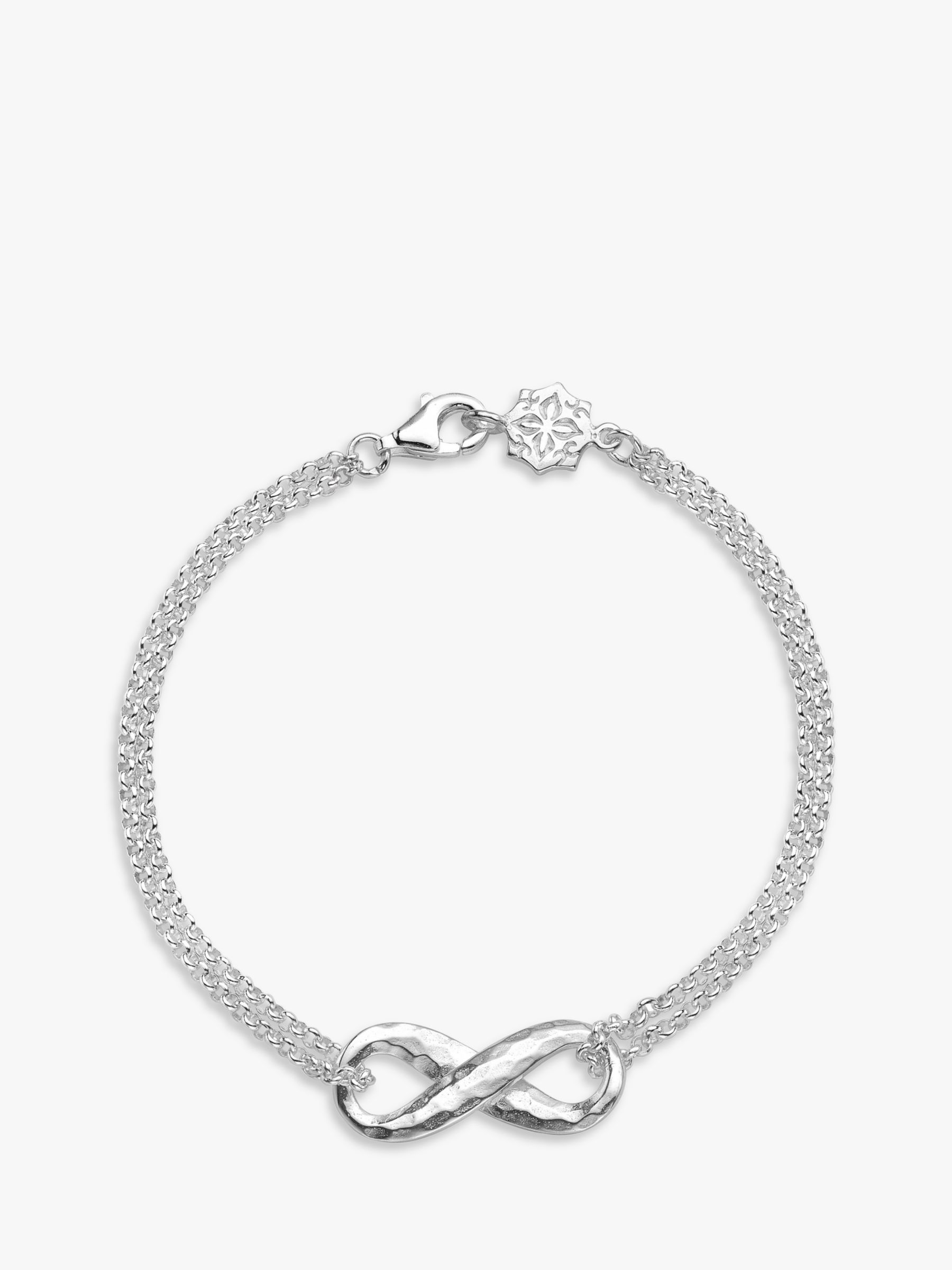 Dower & Hall Dower & Hall Sterling Silver Entwined Infinity Bracelet, Silver