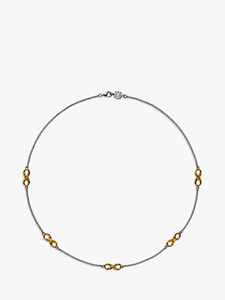 Dower & Hall 18ct Gold Vermeil Infinity Necklace, Silver/Gold