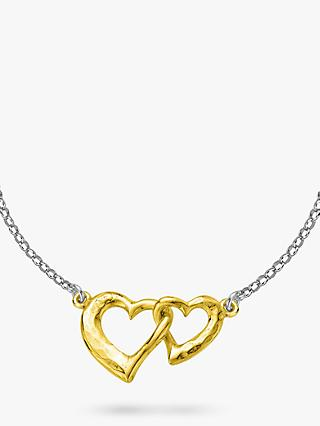 Dower & Hall Sterling Silver Entwined Hearts Pendant Necklace