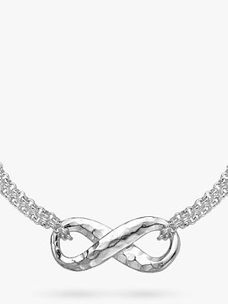 Dower & Hall Sterling Silver Infinity Pendant Necklace, Silver