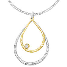 Buy Dower & Hall Sterling Silver Gold Vermeil Double Teardrop White Topaz Dewdrop Pendant, Gold/Silver Online at johnlewis.com