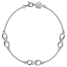 Buy Dower & Hall Sterling Silver Triple Infinity Bracelet, Silver Online at johnlewis.com