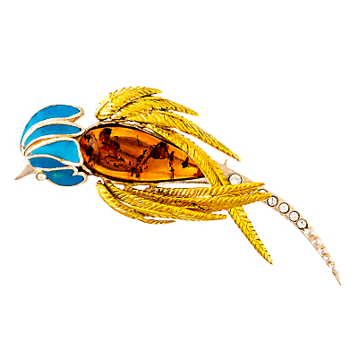 Be-Jewelled Gold Vermeil Amber Parrot Brooch, Orange/Blue