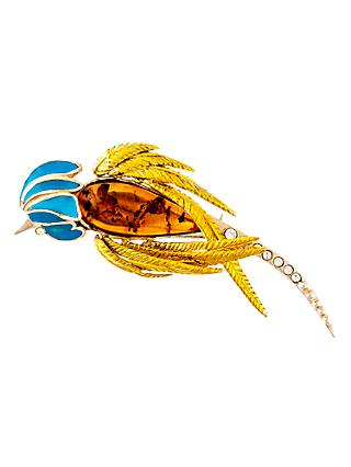 Be-Jewelled Gold Vermeil Amber Parrot Brooch, Orange/Blue
