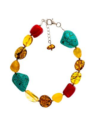 Be-Jewelled Sterling Silver Amber Bracelet, Multi
