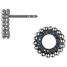 Buy Links of London Effervescence Diamond Pave Stud Earrings, Silver/Blue Online at johnlewis.com