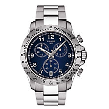 Buy Tissot T1064171104200 Men's V8 Chronograph Date Bracelet Strap Watch, Silver/Navy Online at johnlewis.com
