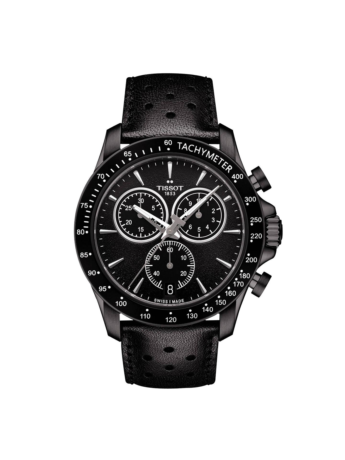 Tissot T1064173605100 Men's V8 Chronograph Date Leather Strap Watch, Black