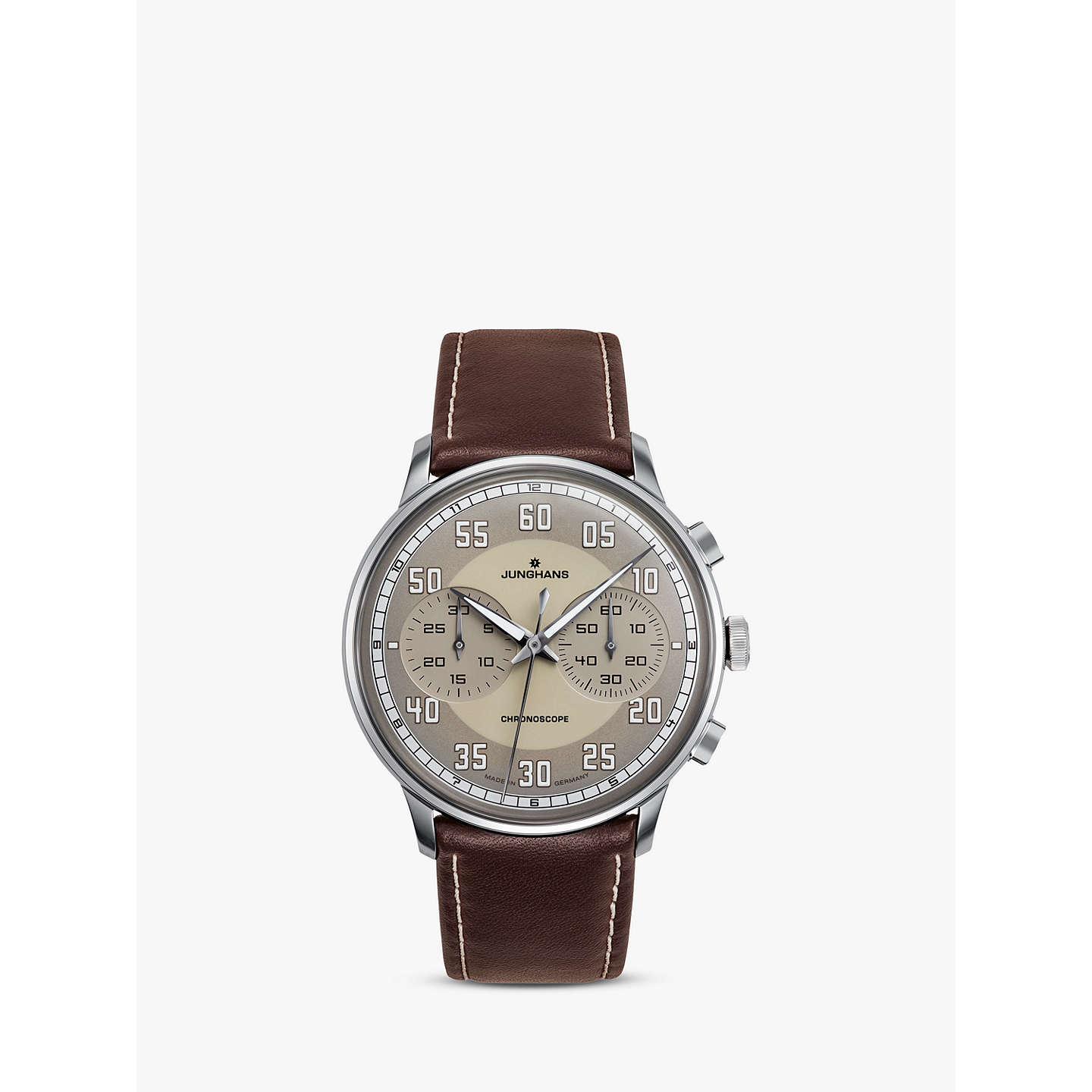 BuyJunghans 027/3684.00 Men's Meister Driver Chronoscope Leather Strap Watch, Brown/Grey Online at johnlewis.com
