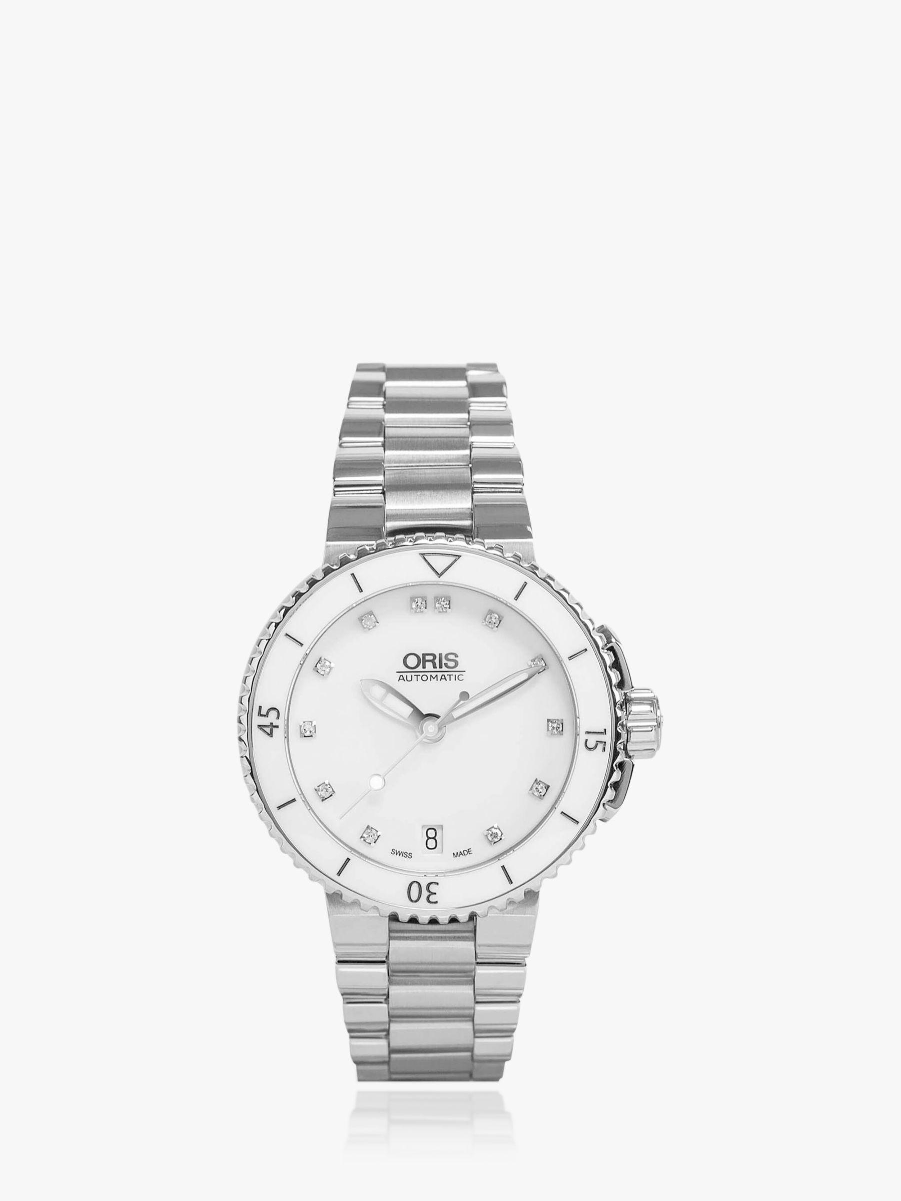 Oris Oris 01 733 7652 4191-07 8 18 01 Women's Aquis Date Diamond Bracelet Strap Watch, Silver/White