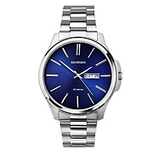 Buy Sekonda 1224.27 Men's Day Date Bracelet Strap Watch, Silver/Blue Online at johnlewis.com