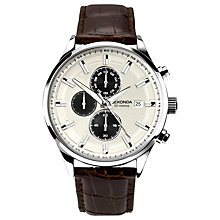Buy Sekonda 1177.00 Men's Chronograph Date Leather Strap Watch, Dark Brown/Cream Online at johnlewis.com
