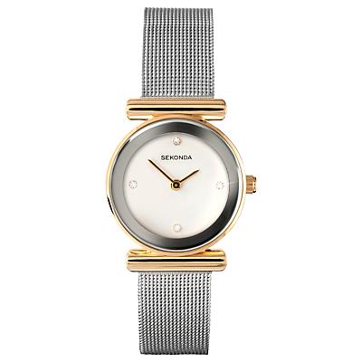 Sekonda 4887.00 Women's Mesh Bracelet Strap Watch, Silver/White