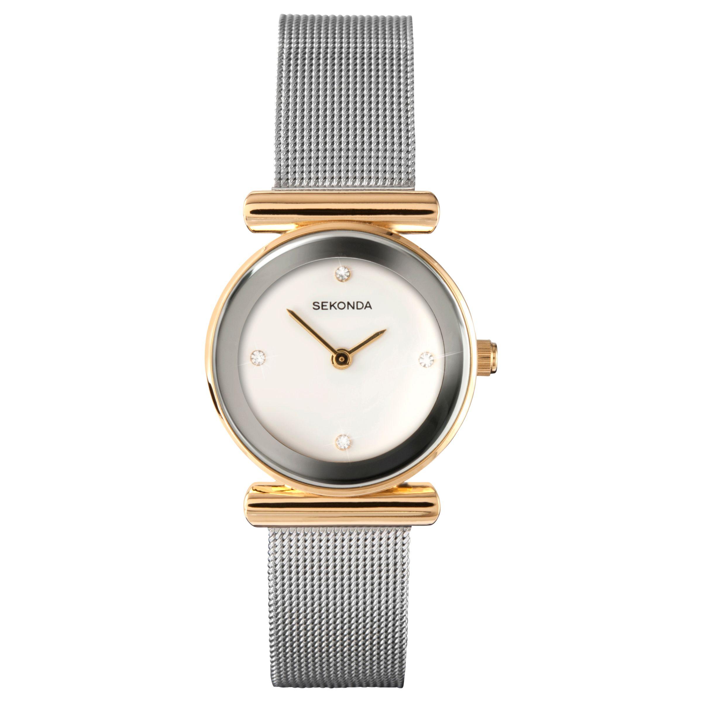 Sekonda Sekonda 4887.00 Women's Mesh Bracelet Strap Watch, Silver/White