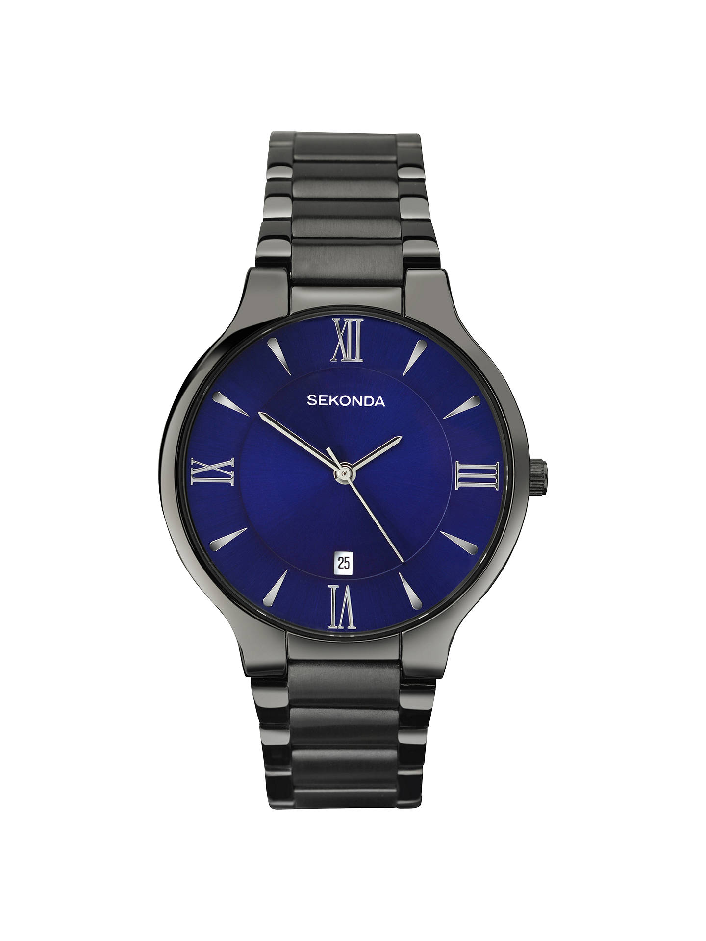 BuySekonda 1140.00 Men's Date Bracelet Strap Watch, Gunmetal/Indigo Online at johnlewis.com