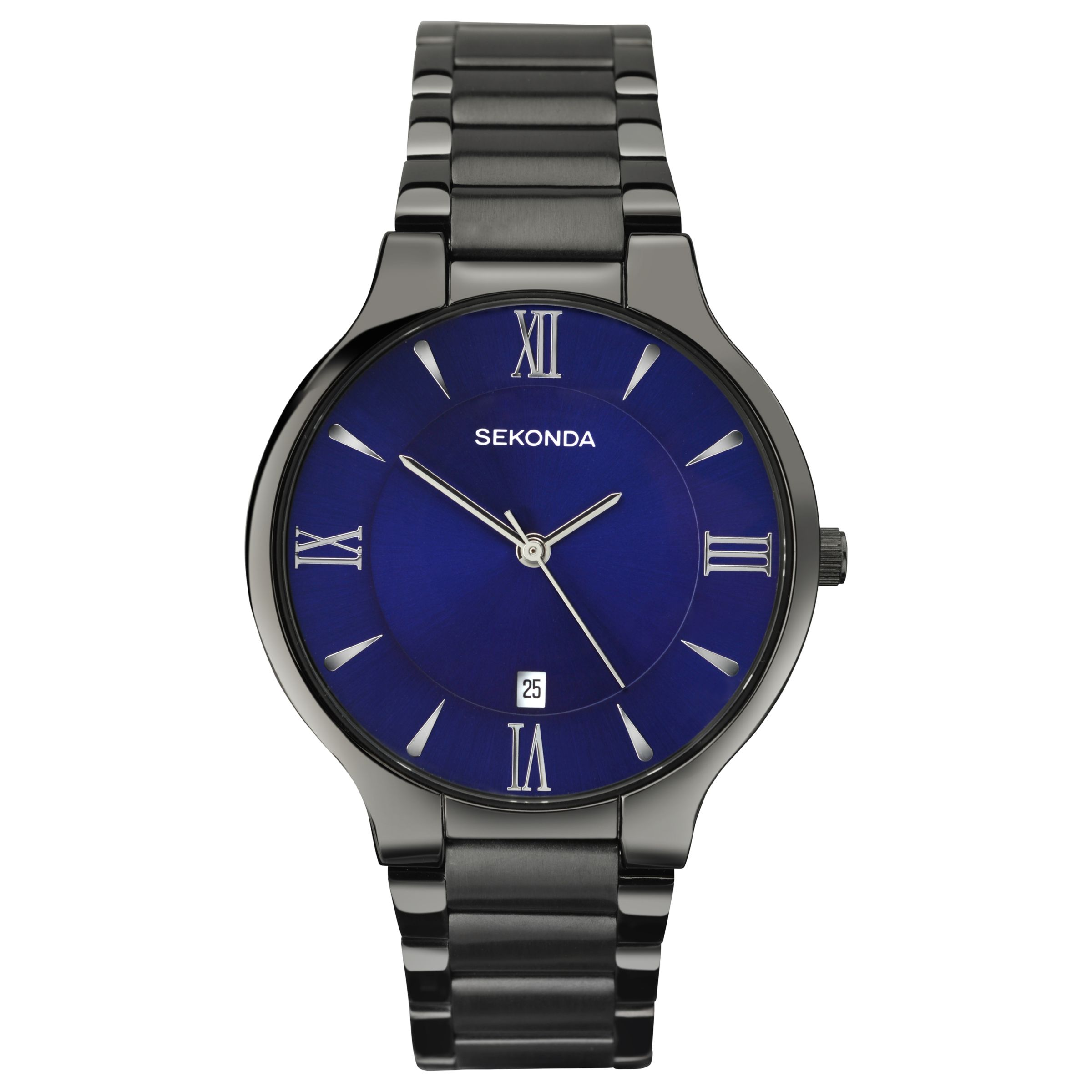 Sekonda Sekonda 1140.00 Men's Date Bracelet Strap Watch, Gunmetal/Indigo