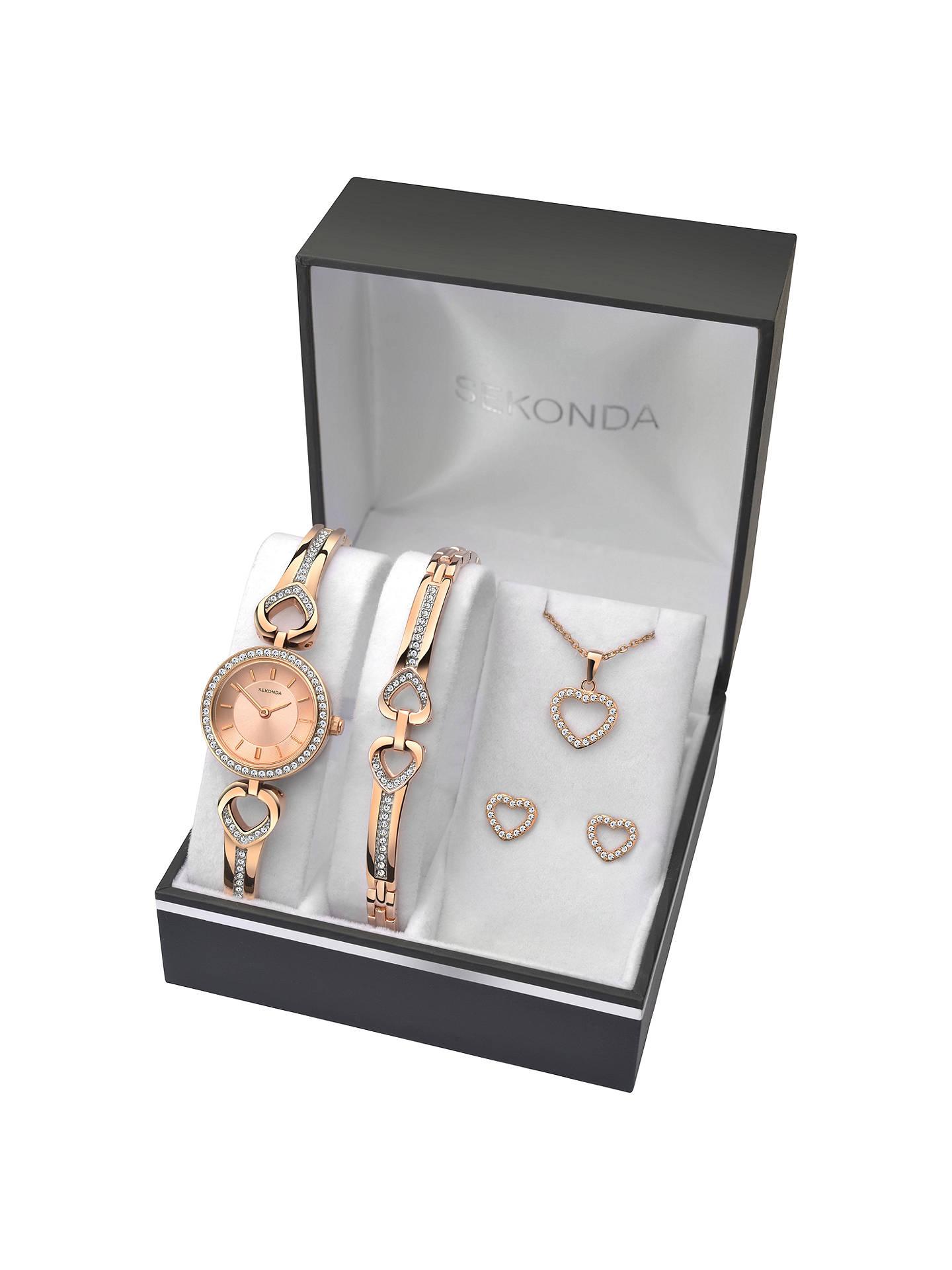 Sekonda 2363g Women S Jewellery Strap Watch Bracelet Pendant Necklace And Earrings Gift Set Rose Gold