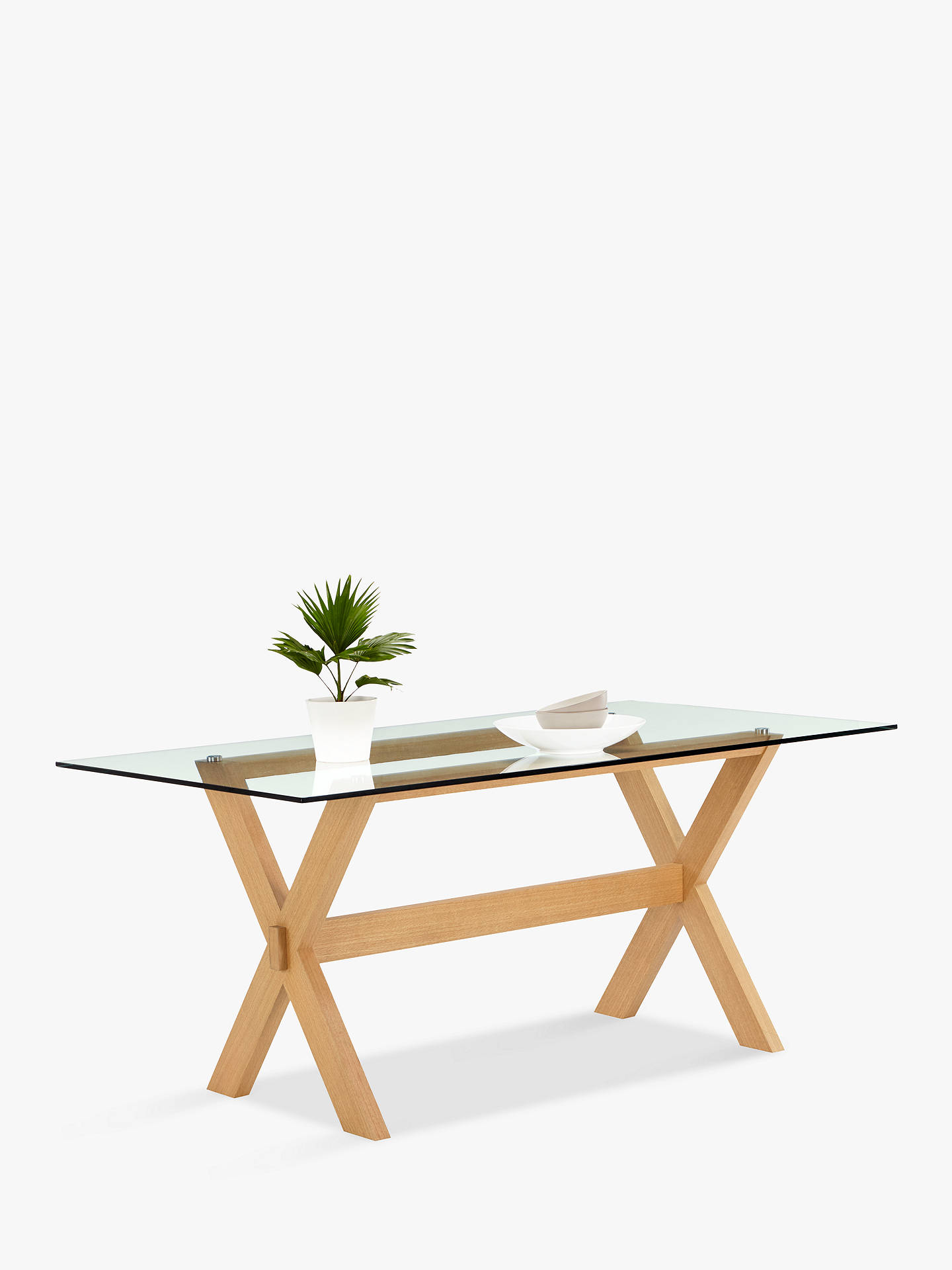Buyjohn lewis partners lydia glass top dining table online at johnlewis