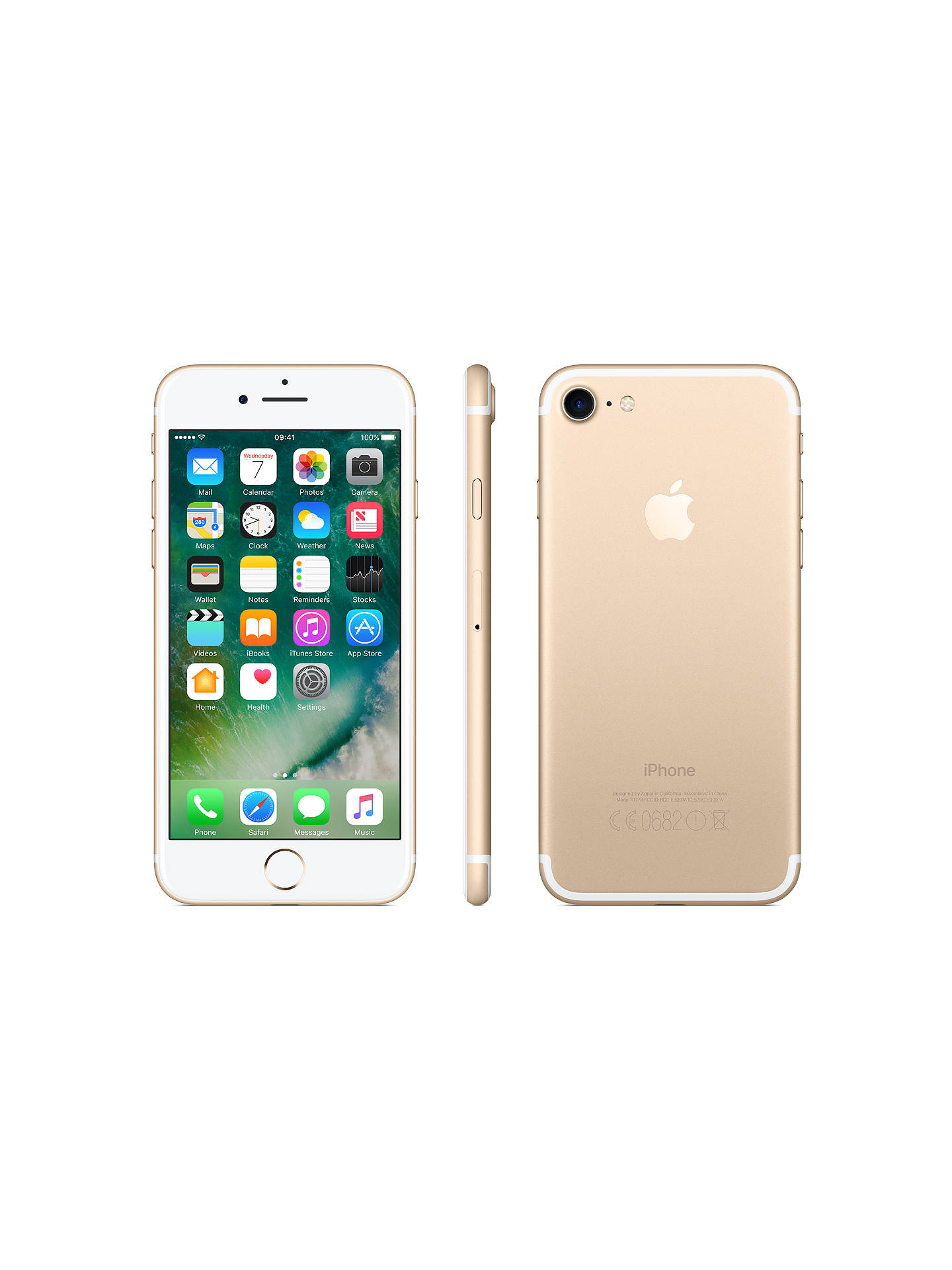 "Buy Apple iPhone 7, iOS 10, 4.7"", 4G LTE, SIM Free, 32GB, Gold Online at johnlewis.com"
